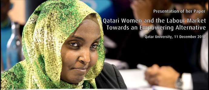 "Embedded thumbnail for Dr Mawahib Abubakr ""Qatari Women and the Labour Market"" Qatar University 11 December 2017"